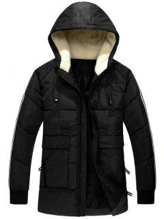 Side Stripe Zip Up Hooded Padded Coat - Black L