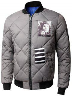 Zip Up Graphic Quilted Bomber Jacket - Gray 3xl
