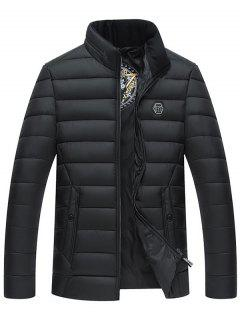 Full Zip Stand Collar Padded Jacket - Black Xl