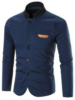 Pocket Fleece Button Up Jacket - Blue 2xl