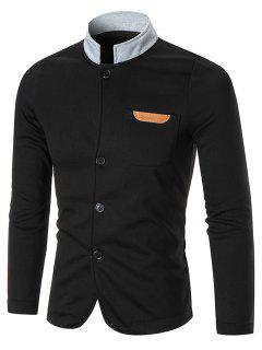 Pocket Fleece Button Up Jacket - Black 5xl