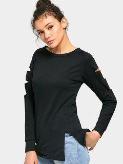 Ausgeschnittenes Langarm-T-Shirt - Schwarz L