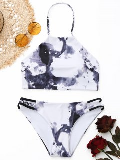 Geflochtene Tie Dye High Neck Bikini Set - Weiß S
