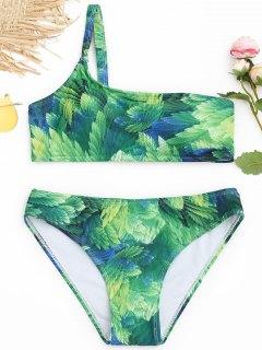 Blatt Druck Ein Schulter Bikini Set - Grün S