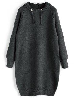 Hooded Sweater Dress - Dark Grey