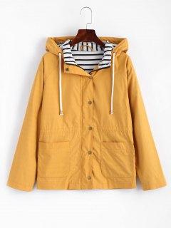 Veste à Capuche à Boutons-Pression Et Rayures  - Moutarde  L