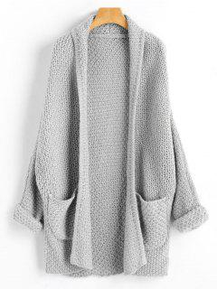 Curled Sleeve Batwing Open Front Cardigan - Gray