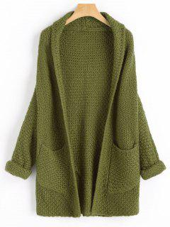 Curled Sleeve Batwing Open Front Cardigan - Army Green