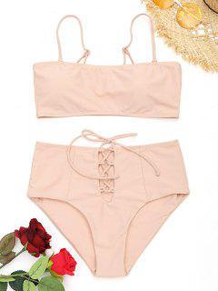 Schnürung Hoch Taillierter Cami Bikini - Pinkbeige S