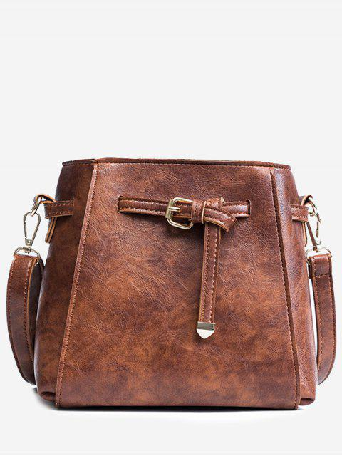 chic Belt PU Leather Crossbody Bag - BROWN  Mobile