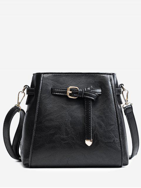 affordable Belt PU Leather Crossbody Bag - BLACK  Mobile