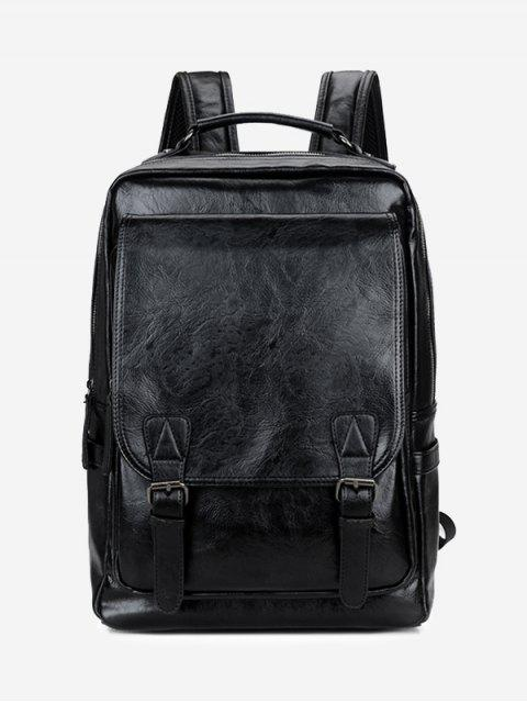 latest Buckle Straps Faux Leather Backpack -   Mobile