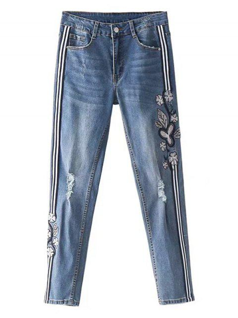 chic Striped Trim Floral Embroidered Ripped Jeans - DENIM BLUE L Mobile