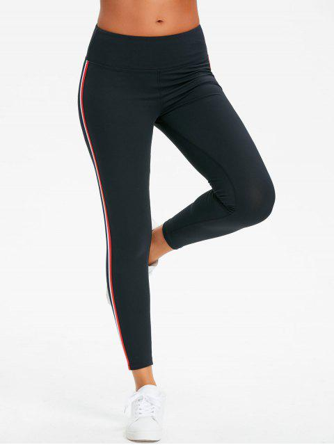 ladies Side Striped High Waisted Sporty Pants - BLACK XL Mobile