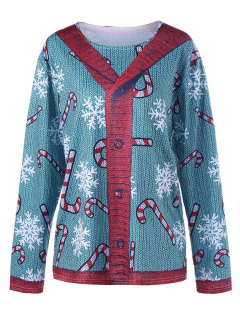 Übergröße Strickjacke Illusion Graphic Top - Blau Grün 5XL Mobile