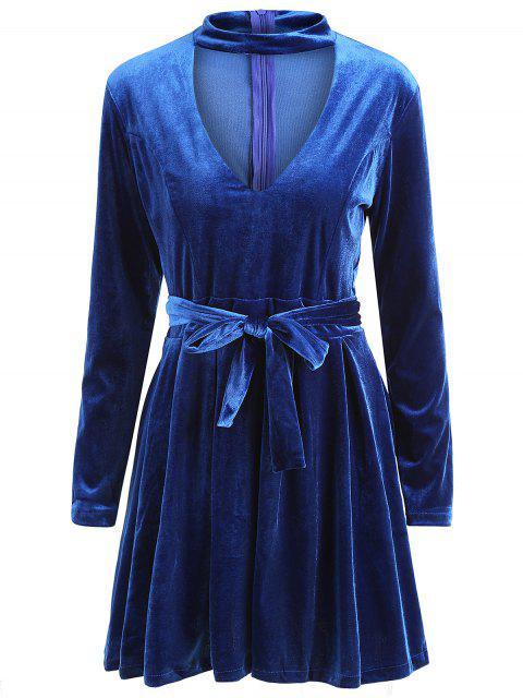 buy Long Sleeve Choker Velvet A Line Dress - PURPLISH BLUE L Mobile