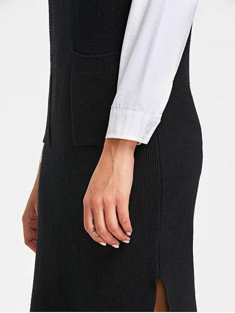 Lange Weste mit seitlichem Schlitz und V-Ausschnitt - Schwarz Eine Größe Mobile
