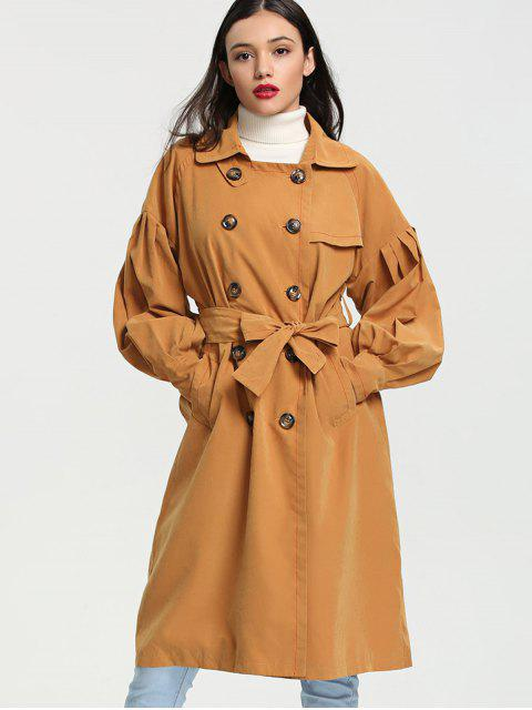 Linterna manga doble breasted Trench Coat - Jengibre S Mobile