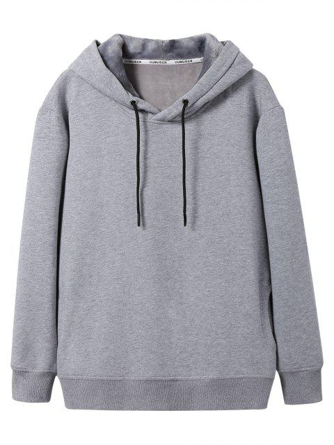 latest Pullover Soft Woolen Lining Hoodie - GRAY XL Mobile