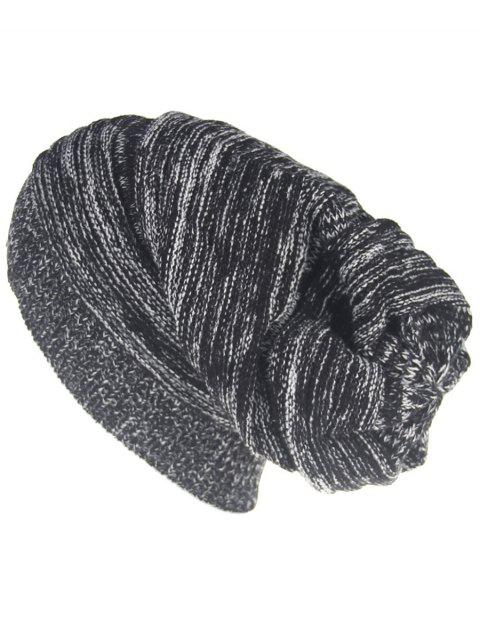 fashion Colormix Striped Pattern Thicken Knitted Slouchy Beanie - BLACK  Mobile