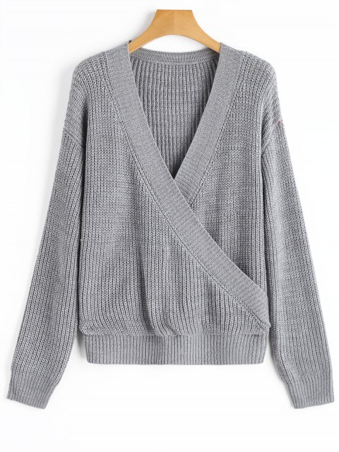best Low Cut Ribbed Wrap Sweater - GRAY ONE SIZE Mobile