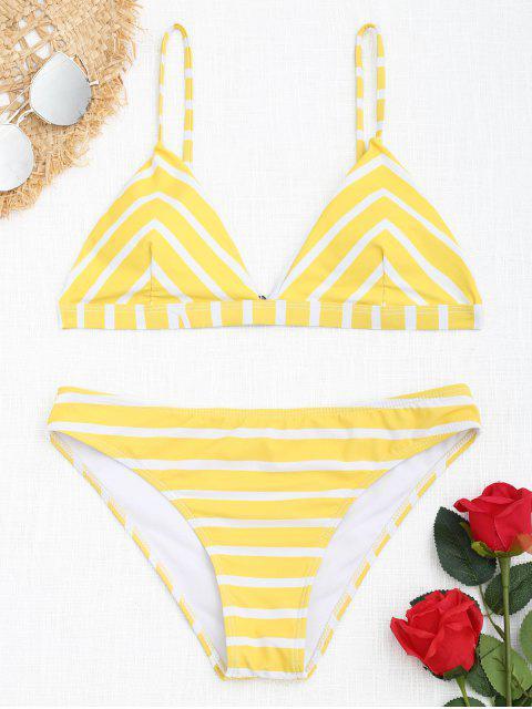 Chevron gestreiftes Cami Bikini Set - Weiß und Gelb L Mobile