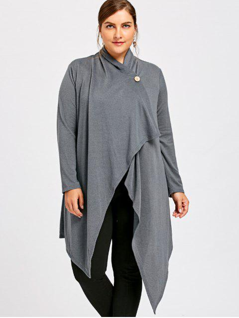 affordable Plus Size One Button Asymmetrical Cardigan - GRAY 3XL Mobile