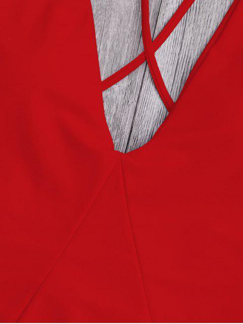 Traje de Baño de Una Pieza con Espalda Cruzada - Rojo XL Mobile