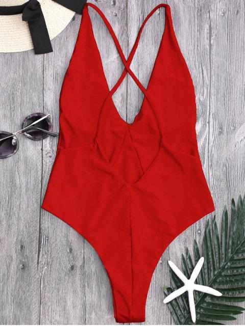Traje de baño de una pieza de corte alto en la espalda - Rojo M Mobile