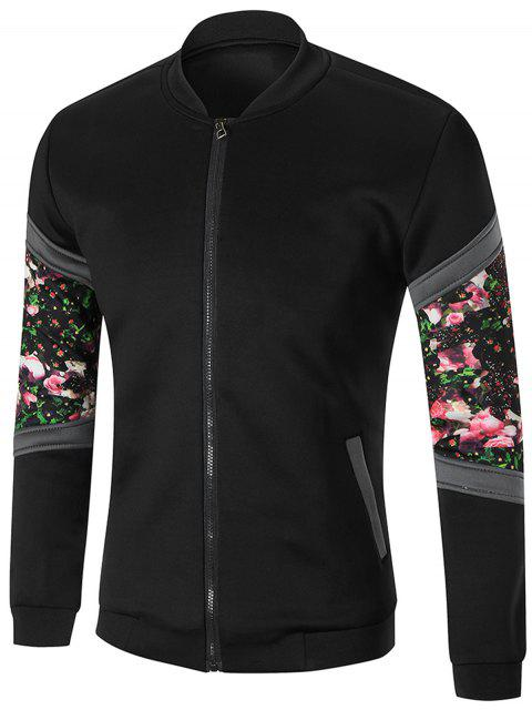 chic Zip Front Sleeve Floral Printed Jacket - BLACK M Mobile
