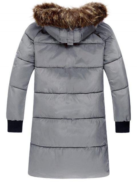 affordable Raglan Sleeve Zip Up Hooded Padded Coat - GRAY L Mobile