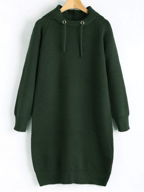 Kapuze Pullover Kleid - Dunkelgrün Eine Größe Mobile