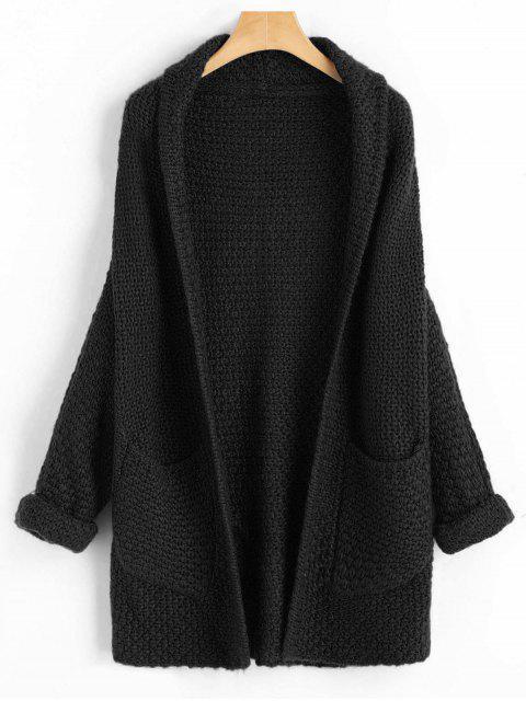 Krause Ärmel Batwing Open Front Cardigan - Schwarz Eine Größe Mobile