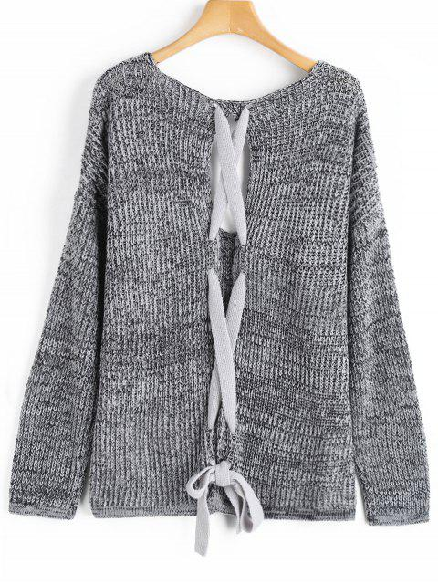 buy Back Lace Up V Neck Heathered Sweater - GRAY ONE SIZE Mobile