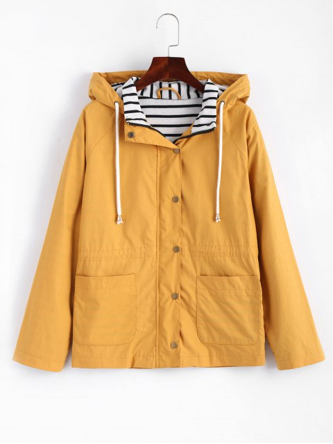 fashion Stripes Panel Snap Button Hooded Jacket - MUSTARD M Mobile