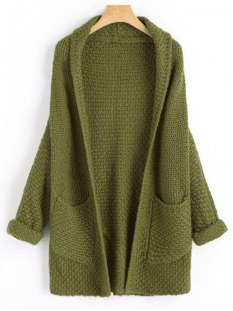 outfit Curled Sleeve Batwing Open Front Cardigan - ARMY GREEN ONE SIZE Mobile