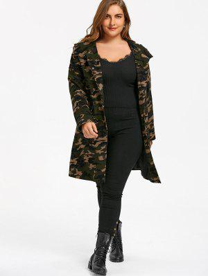 Plus Size Flap Pockets Hooded Camouflage Coat