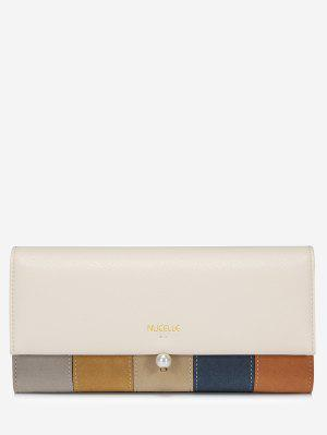 Color Block Faux Pearl Striped Wallet