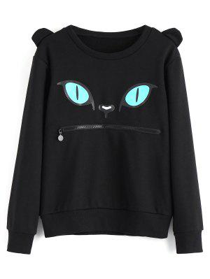 Zippered Cat Print Crew Neck Sweatshirt - Black S