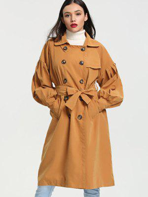 Lantern Sleeve Double Breasted Trench Coat - Ginger S