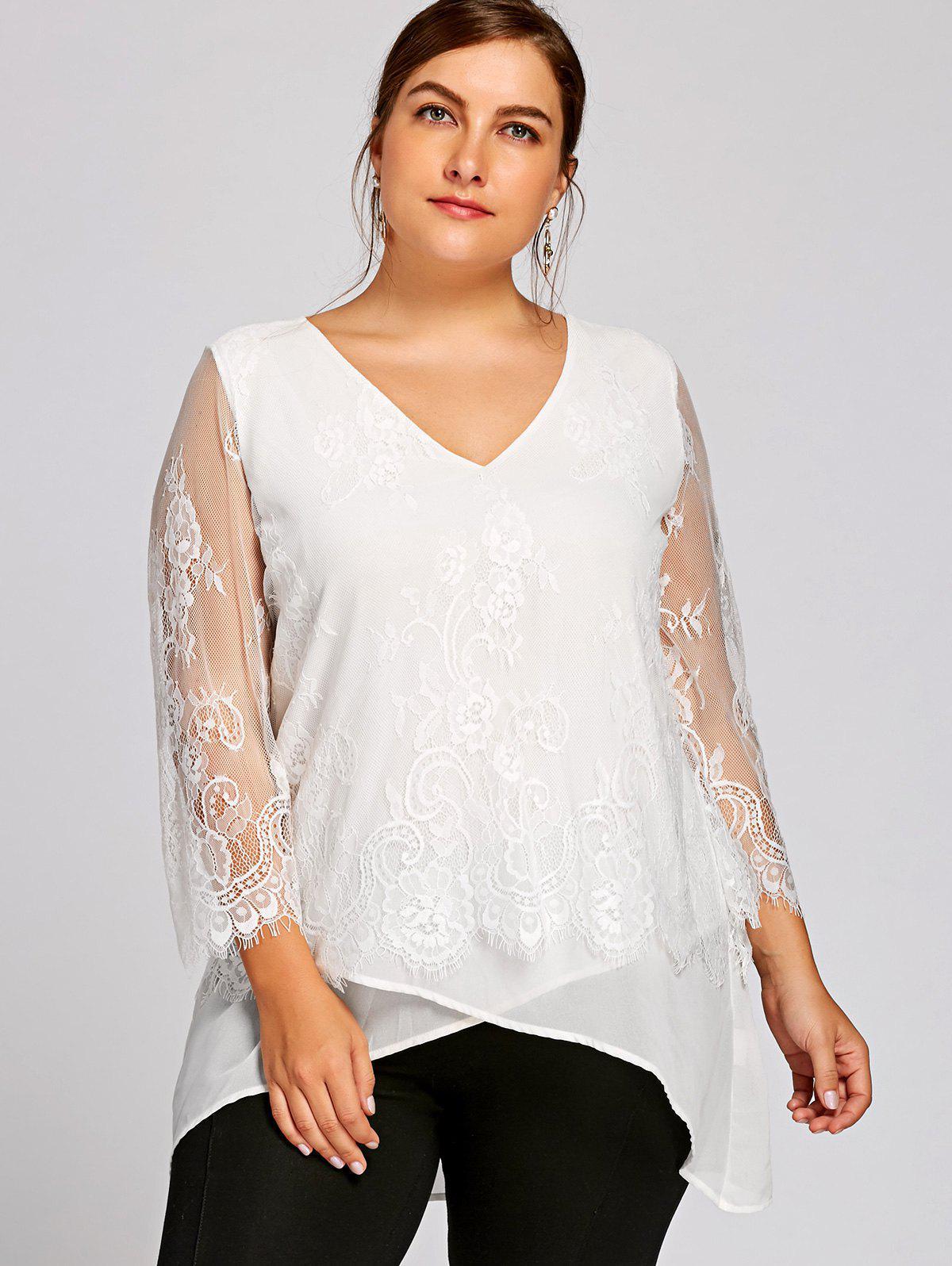 Plus Size Spitzenbesatz mit V-Ausschnitt Bluse