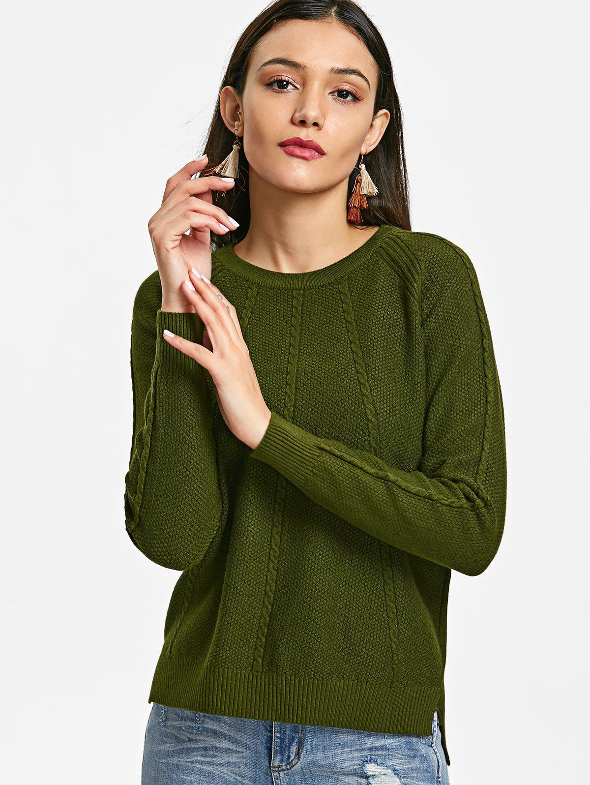Cable Knit Panel Textured Sweater 233089802