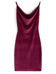 Vestido De Terciopelo Con Cuello Vuelto - Vino Rojo S