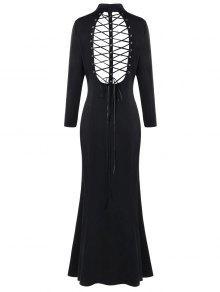 Vestido De Manga Larga Con Cremallera Cruzada Y Corte Cruzado De Talla Grande - Negro 5xl