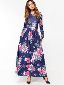 فستان ماكسي طويلة الاكمام طباعة الأزهار - ازرق غامق Xl
