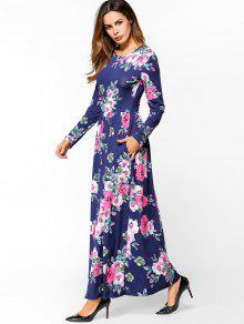 7abbff1cacf 30% OFF] 2019 Floral Print Long Sleeve Maxi Dress In DEEP BLUE   ZAFUL