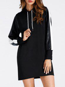 الرباط فو الجلود إدراج البسيطة هوديي اللباس - أسود Xl