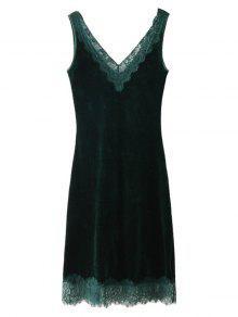 فستان ميدي مخملي دانتيل بلا أكمام - مسود الخضراء L