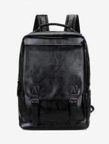 حقيبة ظهر من الجلد المزيف مغلقة بمشبكين - أسود