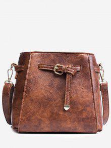 حقيبة كروسبودي من الجلد المصنع مع حزام -